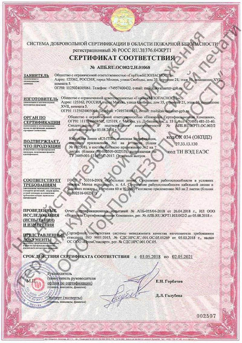 Сертификат на дюбель огнестойкий