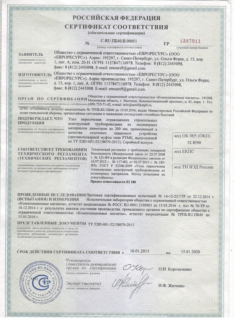 Сертификат муфтв РТМК