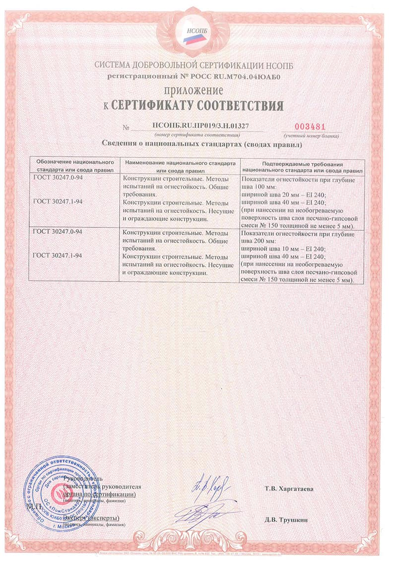 Сертификат на пену монтажную противопожарную