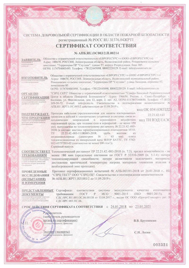 Сертификат на мастику терморасширяющуюся огнезащитную МТО для кабеля