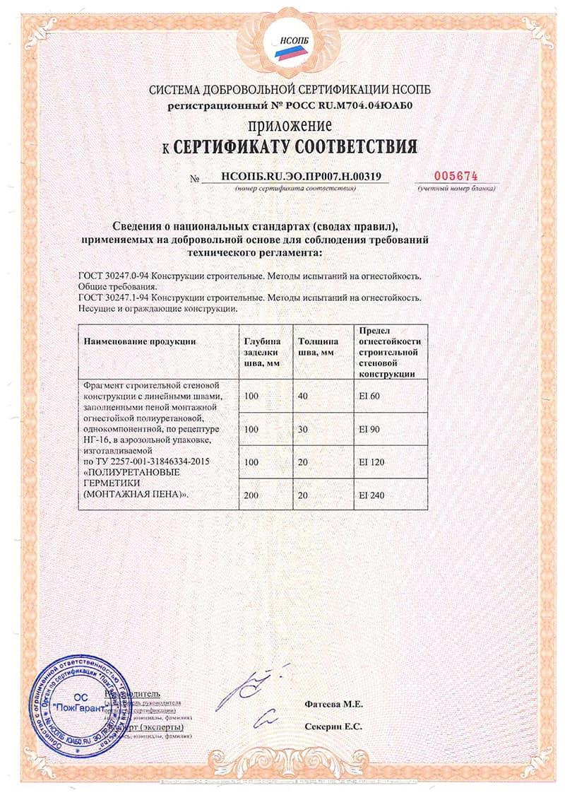 Сертификат на пену монтажную противопожарную стр 2