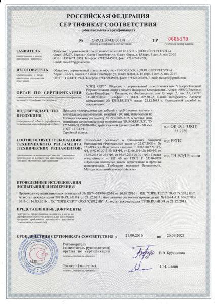 Сертификат на пену огнестойкую