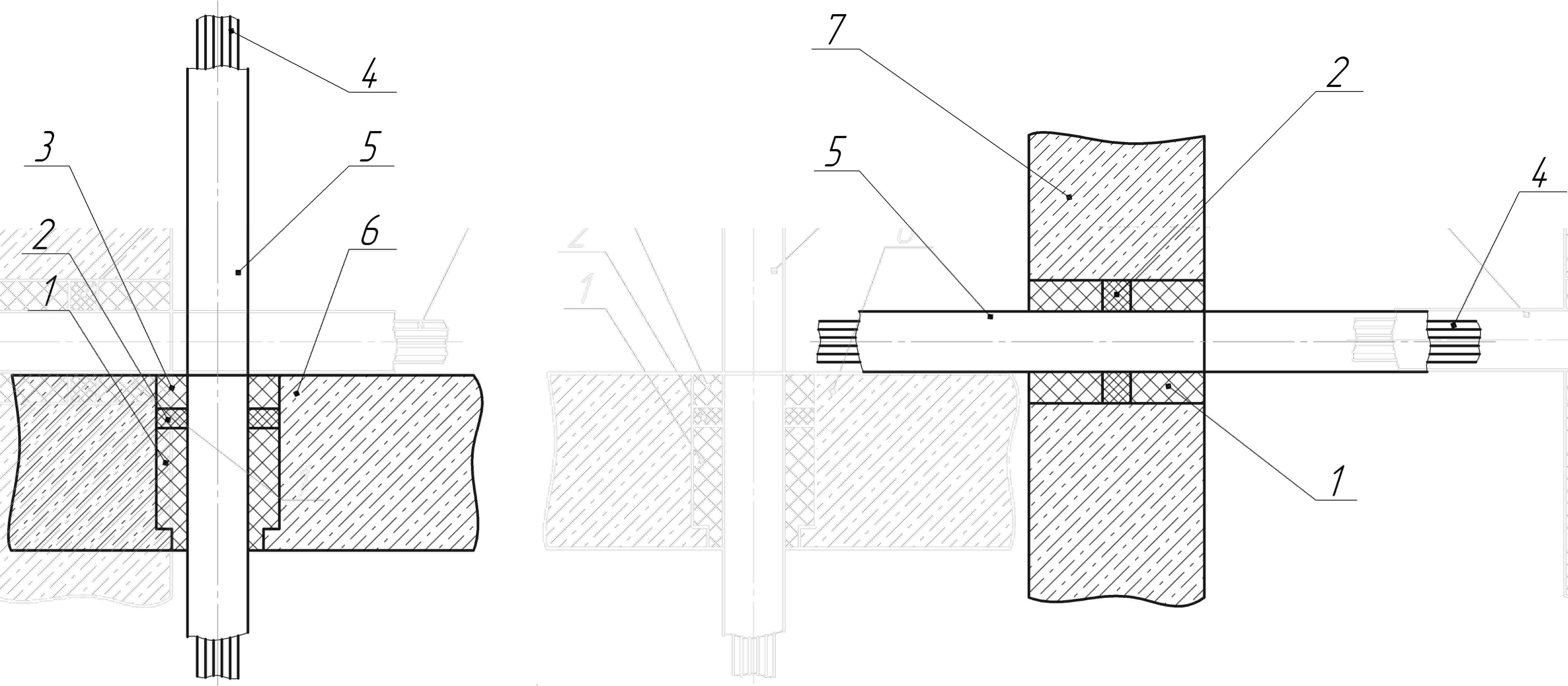 Схема установки кабельных проходок