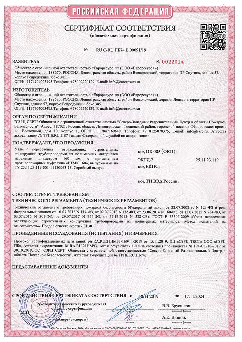 Сертифкат на муфту РТМК 160